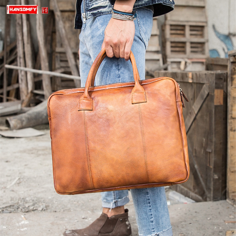 Retro Bag 2019 New Men's Handbags Handmade Genuine Leather Laptop Bag Briefcase Men Leather Shoulder Messenger Bag Travel Bags