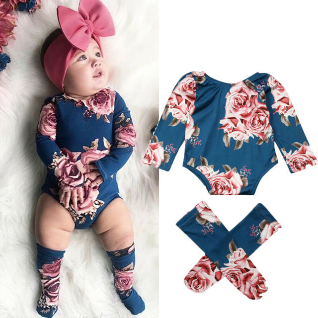 0-24M Infant Newborn Baby Girls Romper Autumn Clothes Flower Jumpsuit+Leg Warmers Outfit Cute Baby Girl Costumes 1