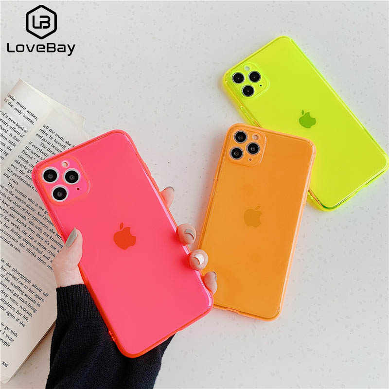Lovebay Effen Kleur Fluorescerende Case Voor Iphone 11 Pro Max Xs Max Xr 7 8 Plus X Candy Candy Soft tpu Transparant Back Cover Coque