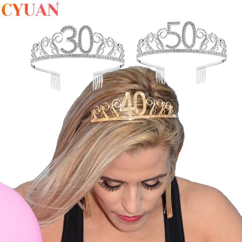 Тиара с кристаллами для взрослых, повязка на голову с короной принцессы, украшение на день рождения, 30/40/50