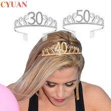 30 40 50 מסיבת יום הולדת קישוטי למבוגרים קריסטל ריינסטון נזר נסיכת כתר Hairbands אביזרי שמח 30 שנה קישוט