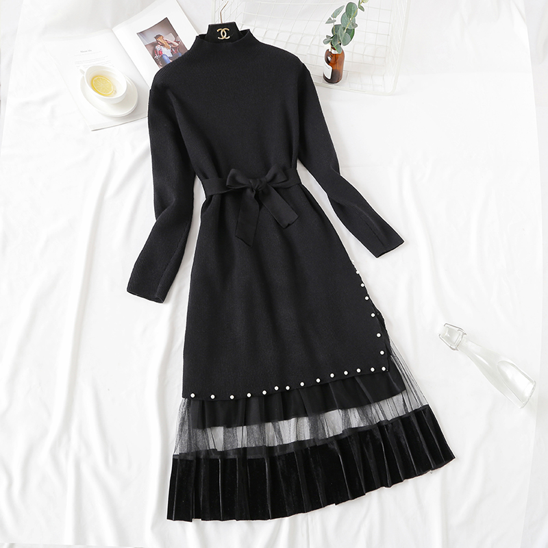 Elegant Stylish Half Turtleneck Long Sweater Dress + Pleated Velvet Skirt 2pcs Women Beaded Sashes Kitted Top and Mesh Skirt Set 36