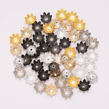 100pcs/Lot 8 10mm Tibetan Antique Lotus Flower Metal Bead End Caps Supplies For Jewelry Making Findings Accessories