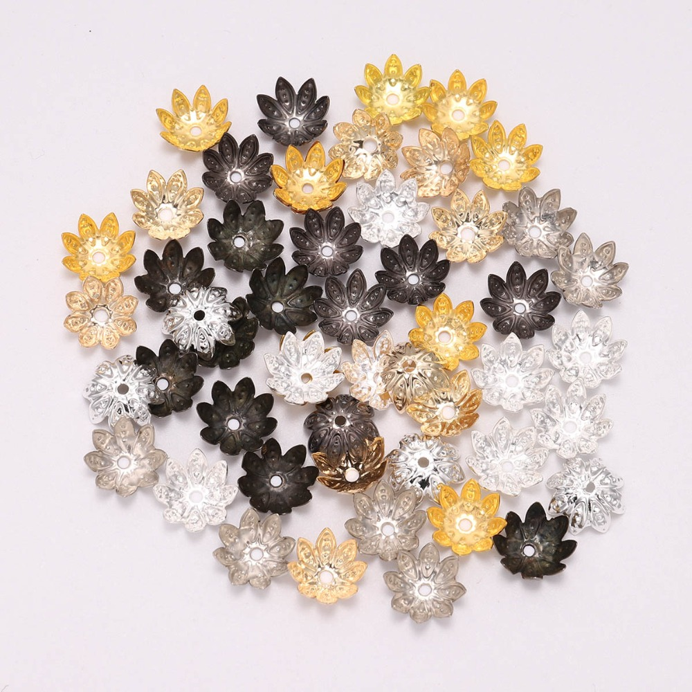 100pcs 8//10mm Hollow Flower End Spacer Metal Bead Caps For DIY Jewelry Finding