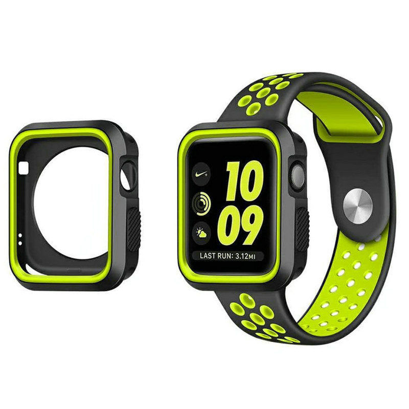 Silicone Bumper For Apple Watch Case 44mm 40mm IWatch Case 42mm/38mm Soft Protector Cover Apple Watch 5 4 3 2 1 Accessories