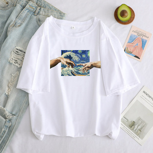 Футболка женская оверсайз с забавным принтом Микеланджело, повседневный топ с рисунком руки в эстетическом стиле, Y2k|Футболки|   | АлиЭкспресс