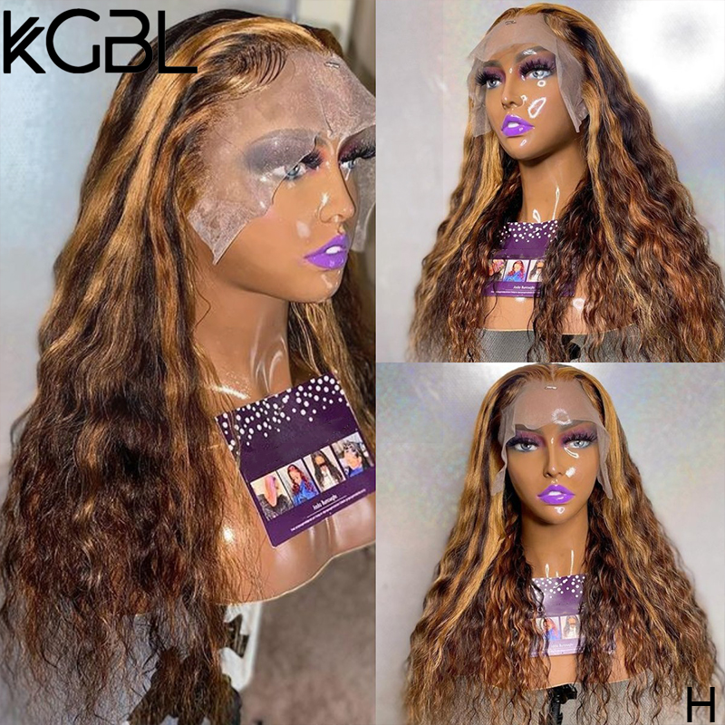 KGBL хайлайтер кудрявые 13x6 кружевные передние человеческие волосы парики 8-24 дюйма не Реми 180% плотность с детскими волосами бразильские парик...