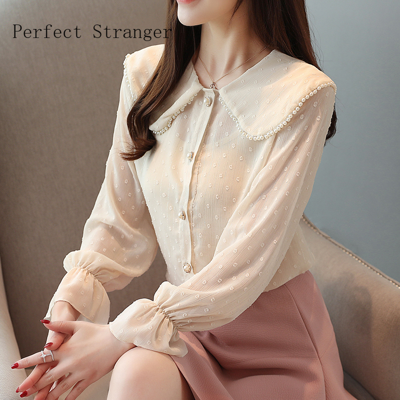 High Quality 2020 Spring New Arrival Sweet Peter Pan Collar Long Sleeve  Women Chiffon Blouse  vintage