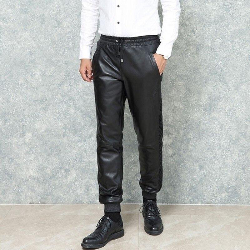 2020 New Man Loose Fit Harem Pants Genuine Leather Drawstring Elastic Waist Joggers Trousers Black Sheepskin Leather Pants Men