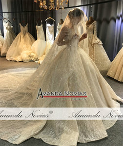 Image 4 - 2020 Champagne Luxury Beading Wedding dress Shiny Cathedral train wedding gown half payment  not  full price