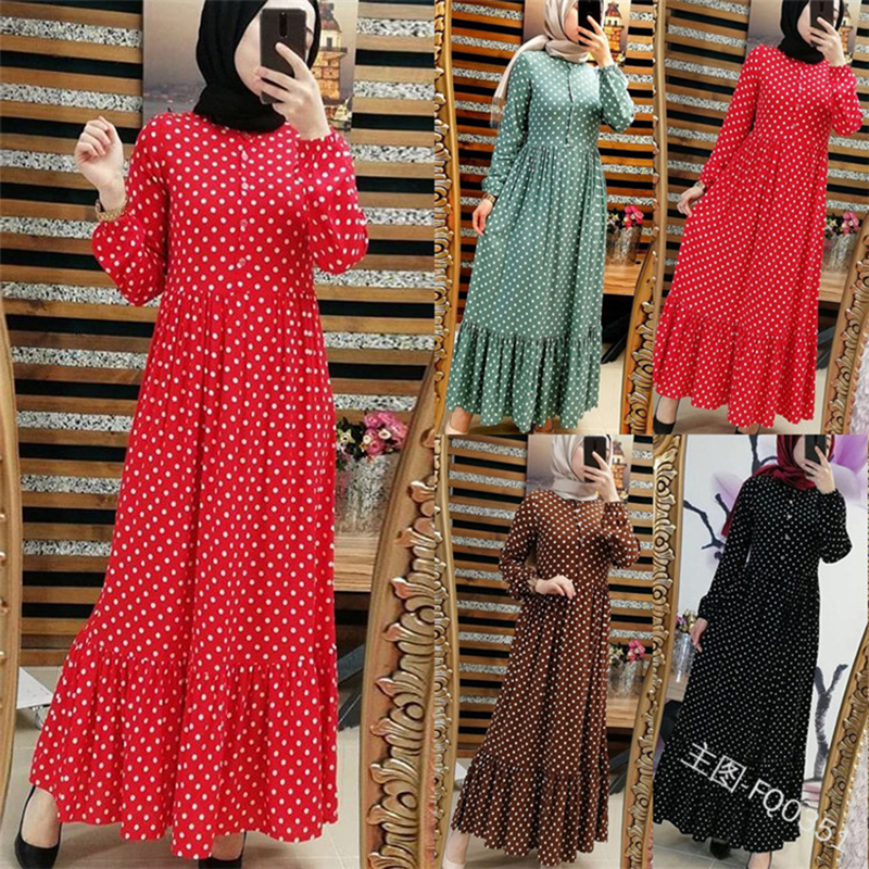 Plus Size Polka Dot Kaftan Abaya Dubai Hijab Muslim Dress Caftan Marocain Turkish Dresses Jilbab Abayas For Women Islam Clothing