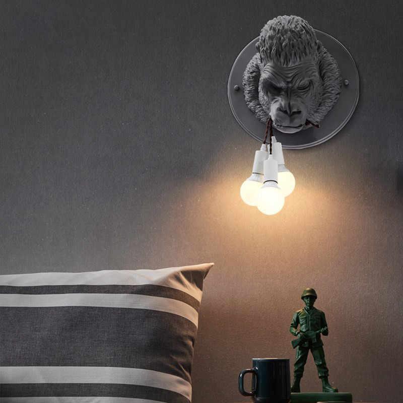 Современная обезьяна лампа настенные лампы Современные светодиодные настенные бра светильники Li креативные гостиной коридора прохода КТВ Domineering смолы