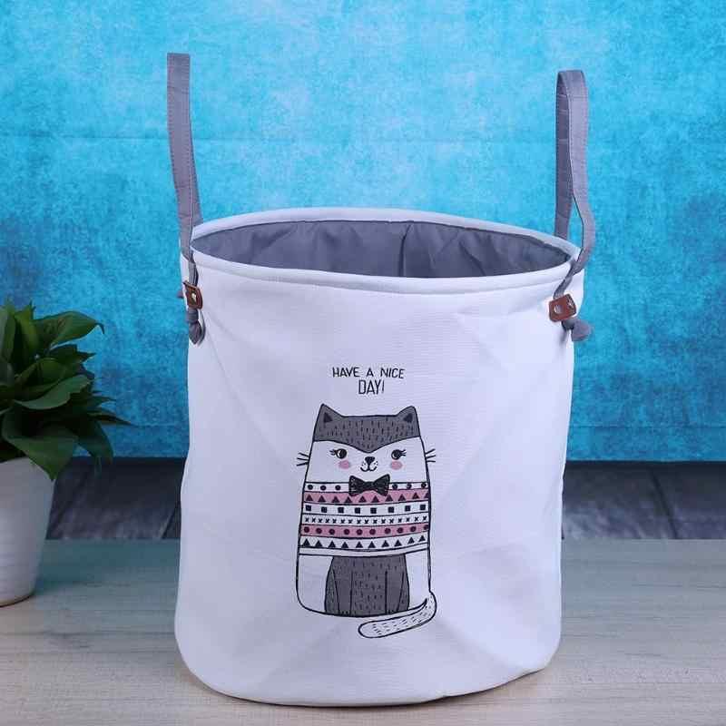 القط نمط حقيبة غسيل مقاوم للماء للطي سلة الغسيل المسكن صندوق تخزين ملابس سلة