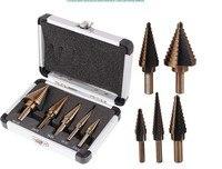 Imperial Grupo 5PC Caixa De Alumínio Passo Broca Set/Broca Passo/bao ta zuan/High Speed broca de aço Furadeiras elétricas     -