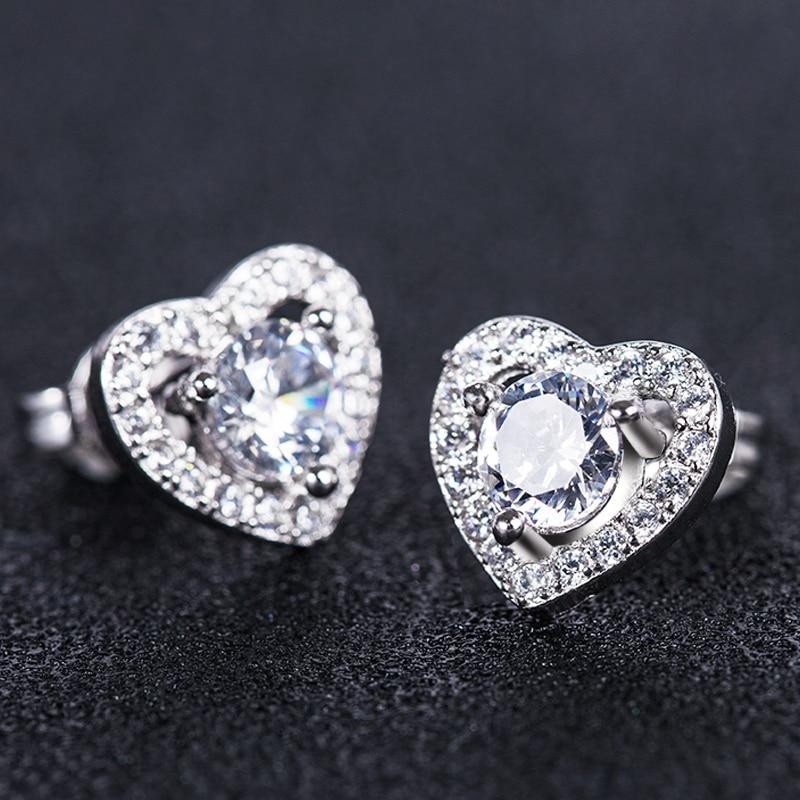 Huitan New Trendy Romantic Heart Shaped Design Girl Earrings With Brilliant Cubic Zircon Stone Simple Tiny Women Earrings