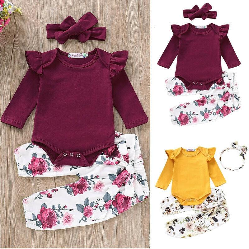 3PCS Set Newborn Baby Girls Clothing Set Tracksuit Romper Jumpsuit Tops Floral Pants Headband Outfits Clothes Set 0-18Months