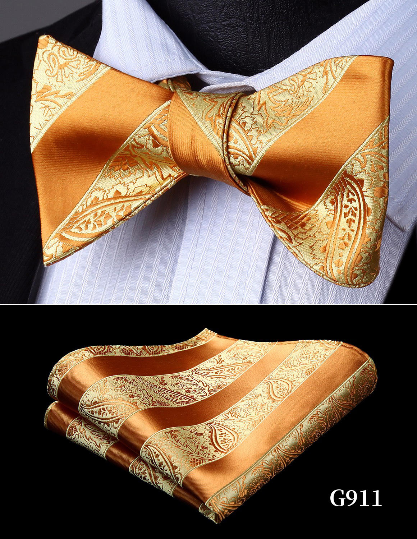 Bow Tie Handkerchief Gold Yellow Men's Paisley Self Bow Tie Set Woven  Wedding