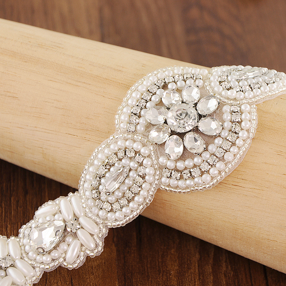 TRiXY S43B Crystal Wedding Belts Satin Rhinestone Wedding Dress Belt Wedding Accessories Bridal Belt Ribbon Sash Belt