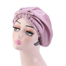 Nuevo suave moño camisón elástico satén con capucha dormir Cap Artificial seda sombrero de quimioterapia doble capa tocado mujeres cabeza envoltura