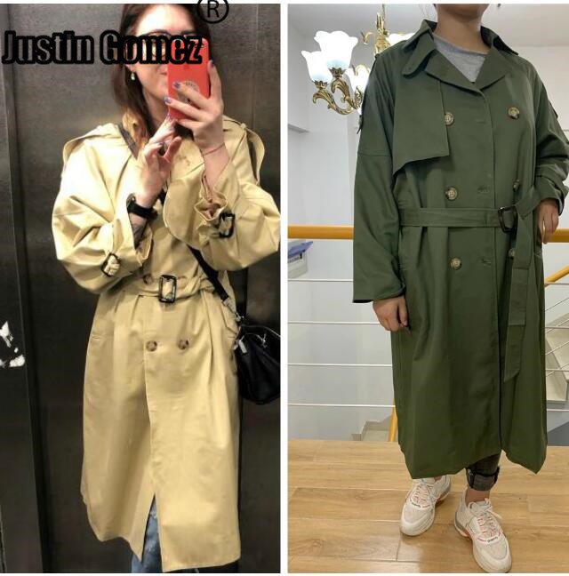 Fashion Women Double Breasted Classic   Trench   Coat brand fall Winter Windbreaker Outwear