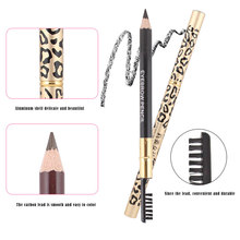 1 Pcs Leopard Double Eyebrow Pencil Waterproof And Sweat-proof Not Blooming Easy To Make Eyebrow Pencil Makeup 5 Color Optional