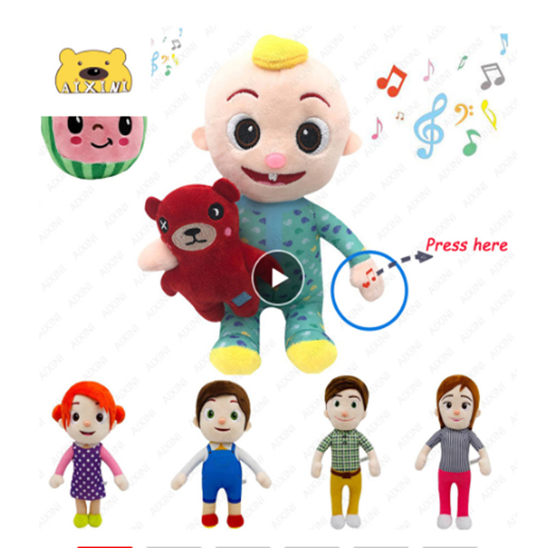 JJ Cocomelon Toys Doll Cocomelon Jj Doll Sing Kids Toys for Boys Cocomelon Bedtime Jj Music Doll Family Kid Gift Anime Plushie 1