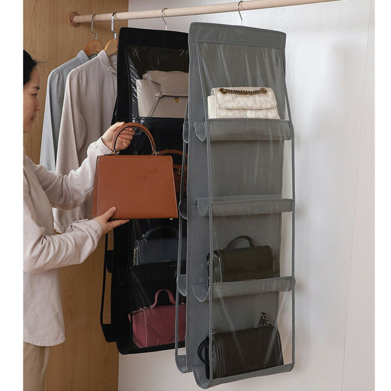 8 Pockets Hanging Closet Organizer Clear Foldable Handbag Purse Clothes Sundries Storage Bag With Hanger
