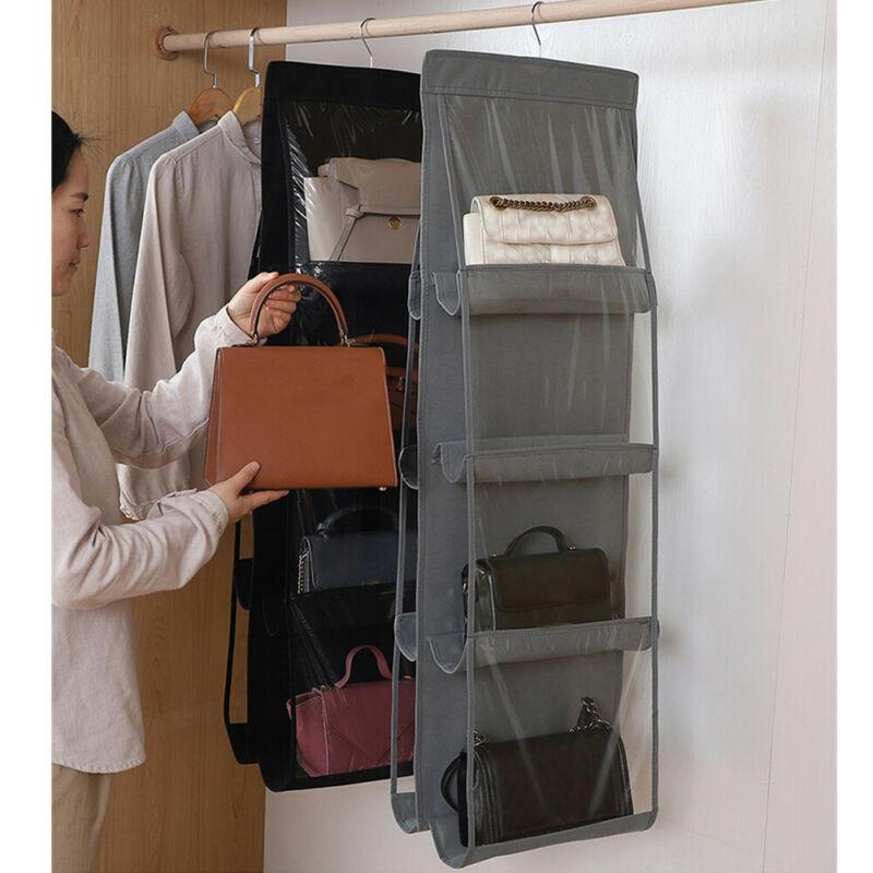 8 Pockets Hanging Closet Organizer Clear Foldable Handbag Purse Clothes Sundries Storage Bag With Hanger