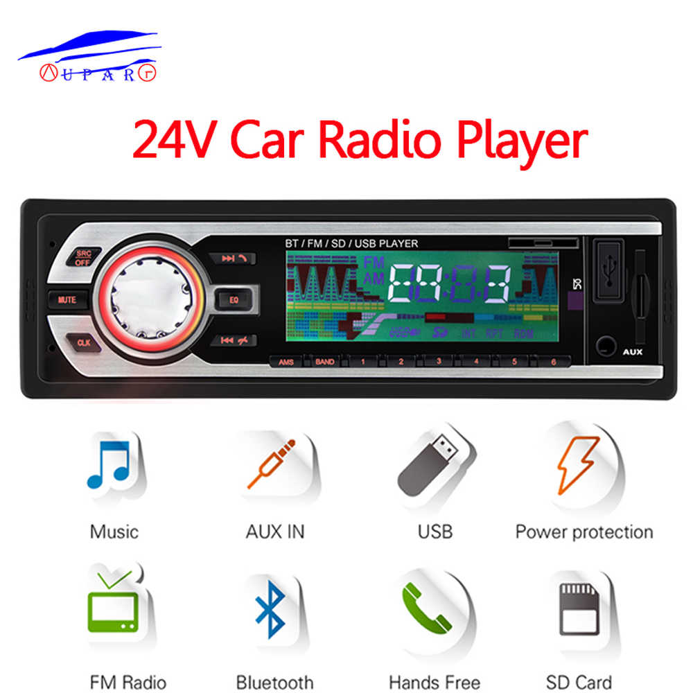 Camion 24V autoradio FM stéréo Bluetooth In-dash 1 Din Aux entrée récepteur SD USB MP3 ISO connecteur autoradio oto teypleri Audio