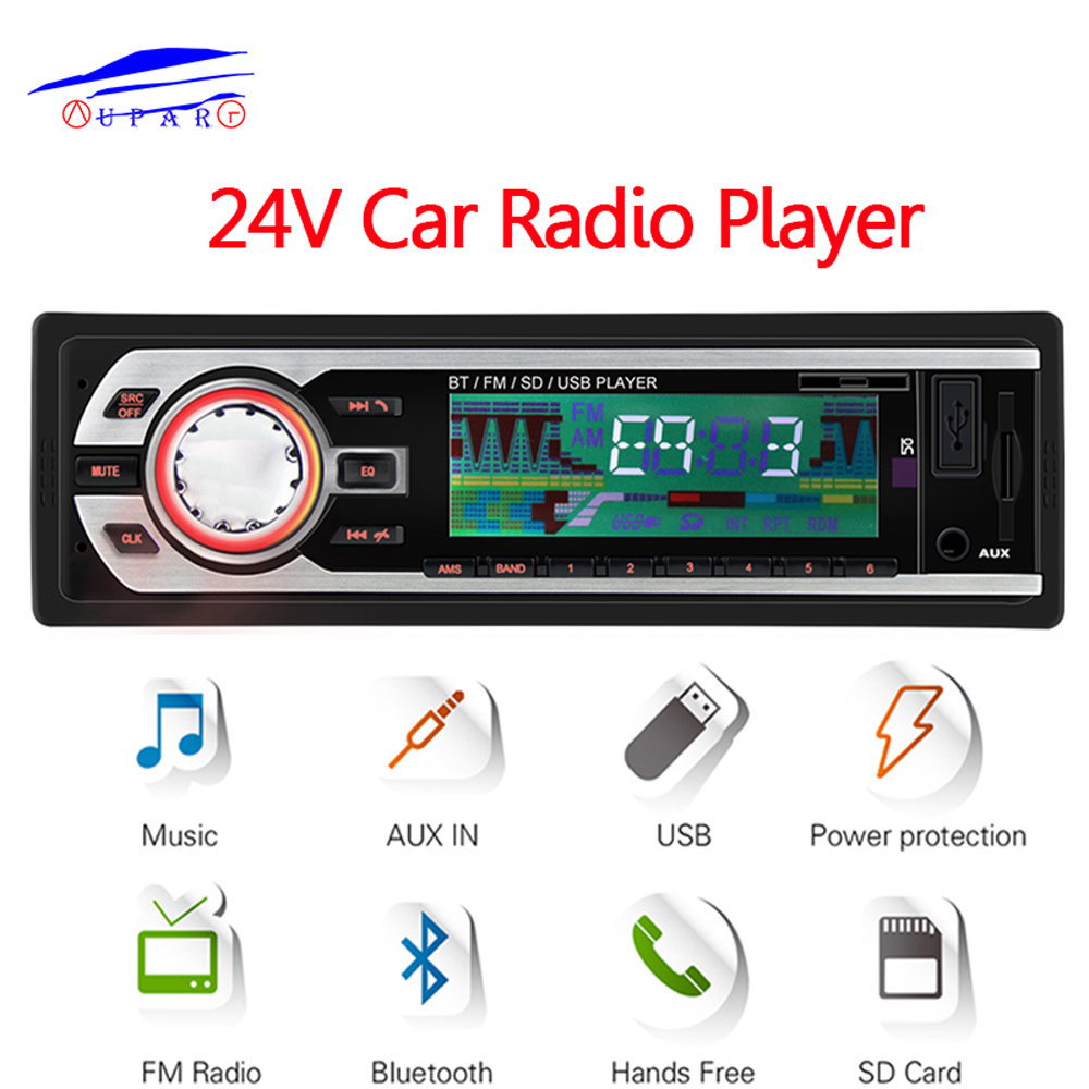24V Truck Car Radio FM Stereo Bluetooth In-dash 1 Din Aux Input Receiver SD USB MP3 ISO Connector Autoradio Oto Teypleri Audio