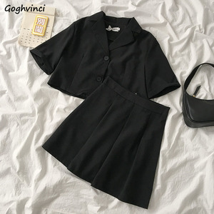 Sets Women Cropped Single Breasted Turn-down Collar Blouses Mini Solid High Waist Skirts Sexy Leisure Simple Harajuku Trendy New