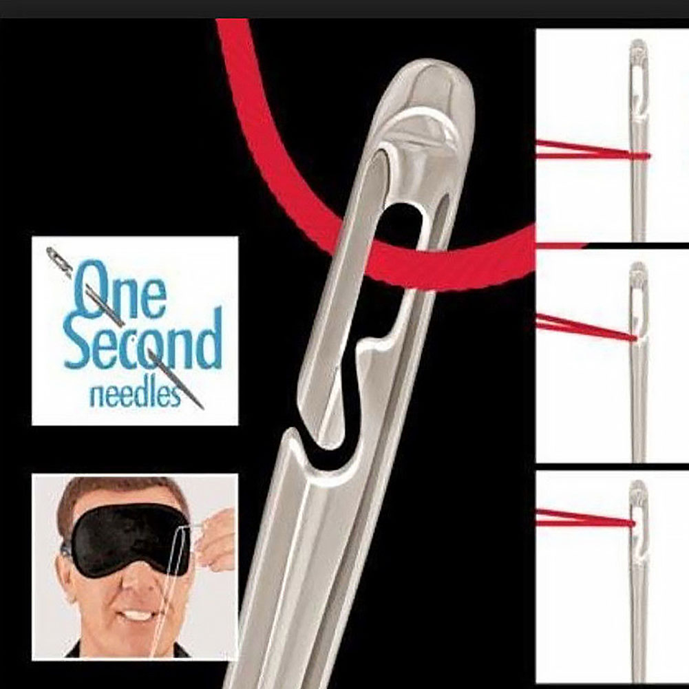 12pcs Side Hole Sewing Needles Stainless Steel Elderly Blind Side Opening Dual-purpose Needles Multi-size Hand Darning Needles #