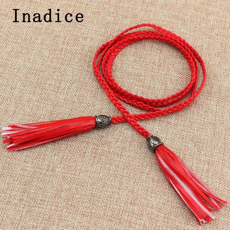 Inadice Women's Belt Fashion Braided Slim Belts Exquisite Waist Chain Dress Accessories Tassel Belt