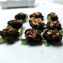 40pcs coffee color ribbon flowers with leaf handmade apparel sewing appliques DIY accessories A580