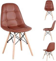 Набор из 4 стульев для столовой из искусственной кожи, прочные металлические рамки и буковая фурнитура, кухонная столовая комната (белый/чер...