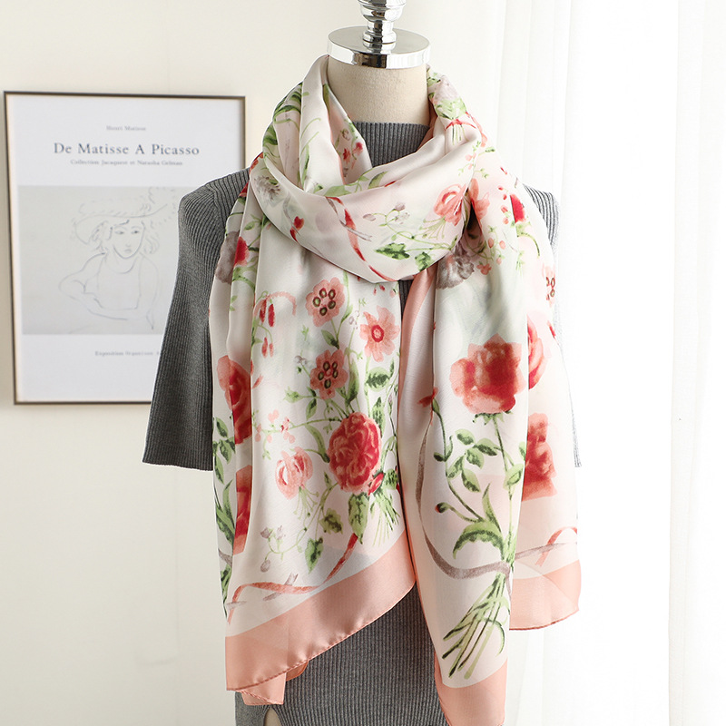 China new style Popular beach fashion Autumn and winter women nice print   scarves     wraps   hijab lady silk Seaside shawl muffler
