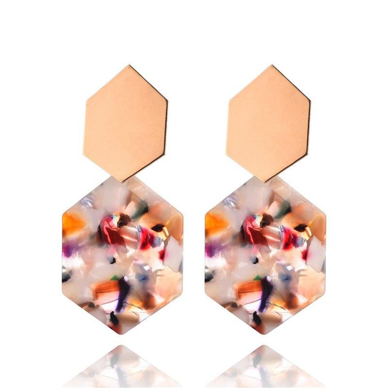 Fashion Earrings For Women Gold Metal Single Drop Dangle Earrings Vintage Statement Round Geometric Earring 19 Fashion Jewelry 2