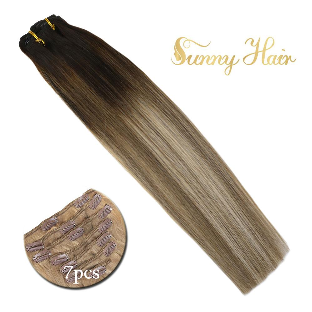 VeSunny Double Weft Clip In Hair Extensions 100% Human Hair 7pcs 120gr Clip On Hair Balayage Brown Highlights Blonde #3/8/18
