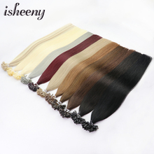 Isheeny 12-22 Fusion Hair Extensions Blonde Nail U Tip Pre-Bonding Human On Capsuel Europen Remy 50 Pieces Straight