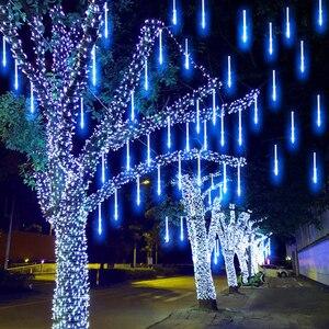 Image 5 - Luces de Navidad de 30/50CM, lluvia de meteoritos, árbol de lluvia, luz de hadas para el hogar, jardín, Patio, gota de lluvia, luz que cae en la nieve
