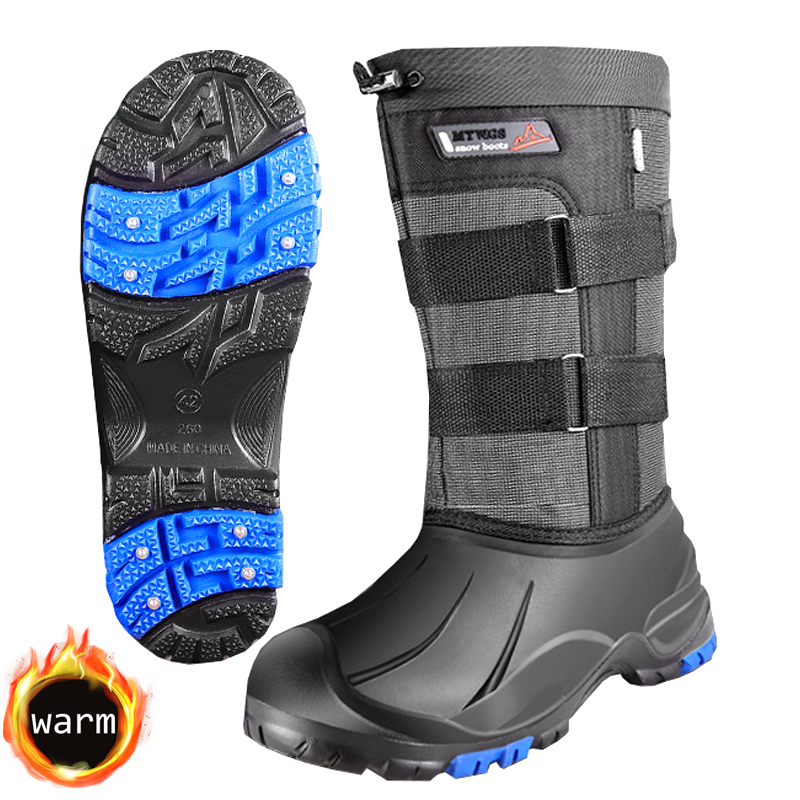 2020 Winter Non-slip Snow Boots Men Women Rain Shoes Fur Plush Warm Snowfield Hiking Work Hunting Fishing Waders with Cleats