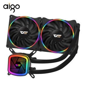 Image 1 - Aigo obudowa PC chłodnica wodna wentylator procesora T120/240/360 chłodzenie wodne wentylator do procesora 120mm wentylator zintegrowany grzejnik do LGA2011/AM4/115x