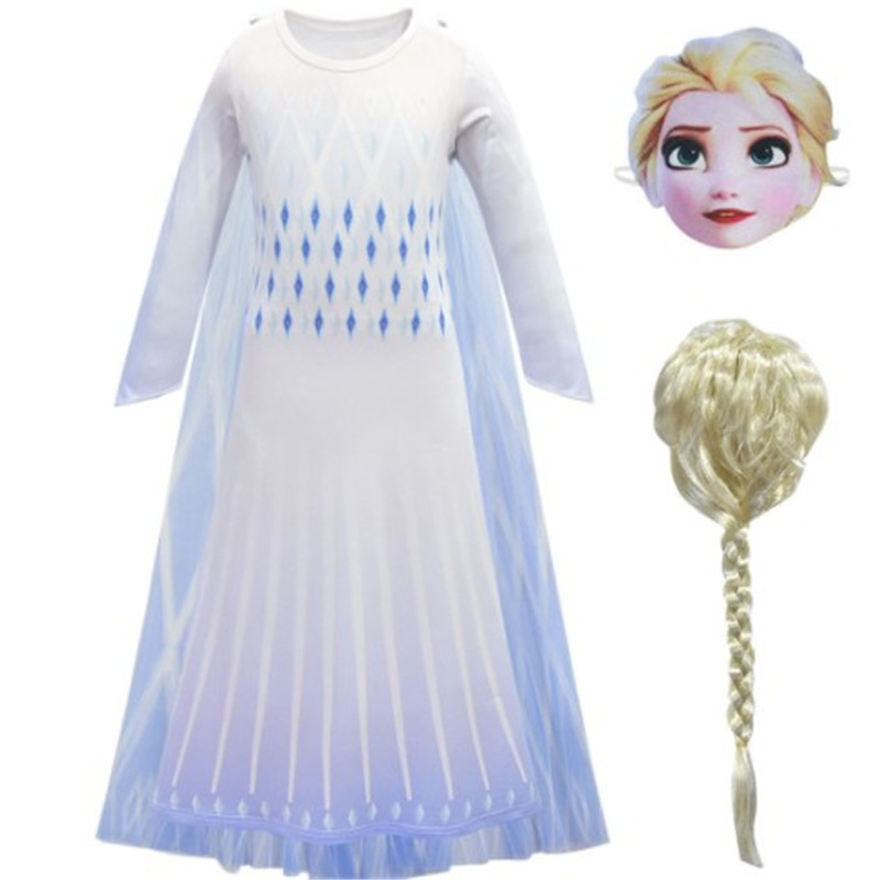 Snow Queen cosplay princess <font><b>Anna</b></font> <font><b>Frozen</b></font> <font><b>2</b></font> Queen Elsa Girl anime dress and <font><b>wig</b></font> mask Halloween children's party costume props image