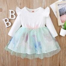 Unicorn Baby Girl Dress Bow Fly Sleeve Birthday Dresses Cute Party Dress vestido infantil menina Tulle Princess Dress Ball Gown