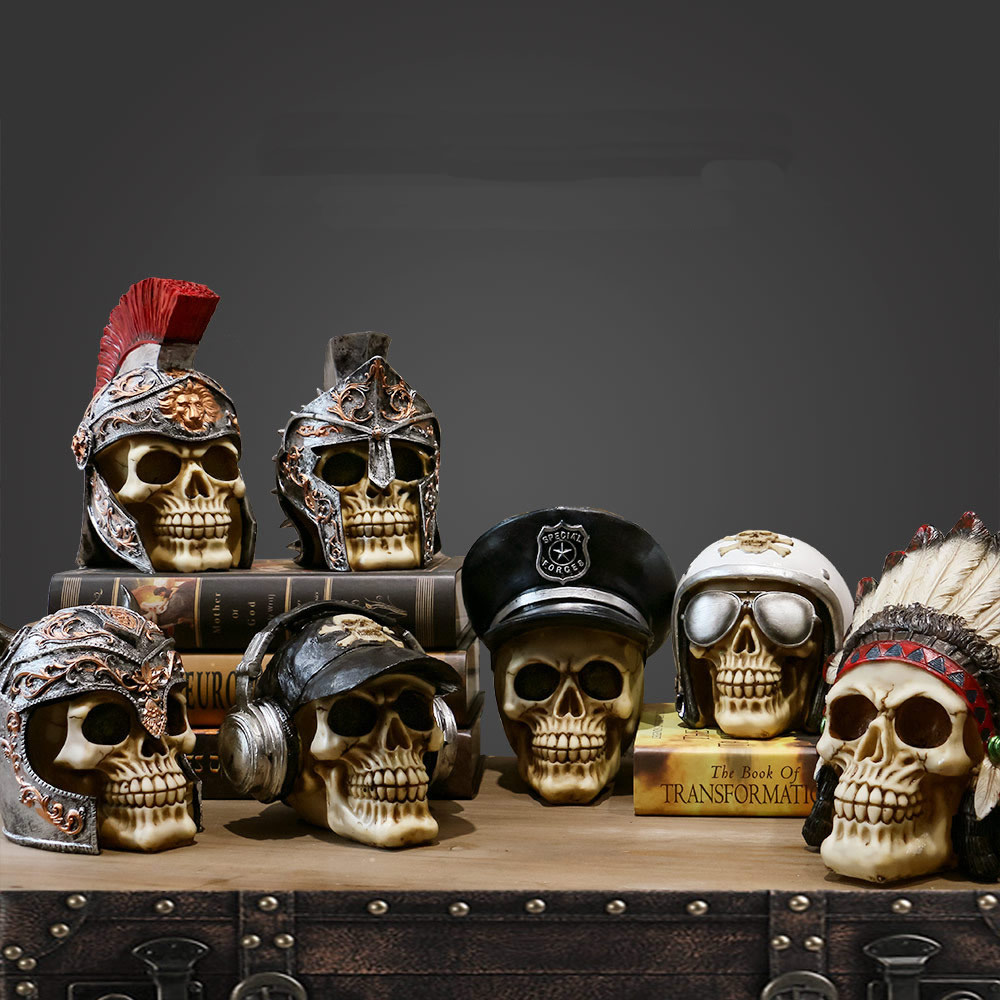 Creative Vintage Resin Skull Statue Skeleton Props Sculpture Home Office Desk Decoration Ornament Halloween Decor Birthday Gift