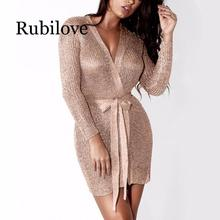Rubilove Women Sexy Dress Knitted Sweater Dress Silver Gold Club Party Bodycon Dress Deep V-neck Long Sleeve Cardigan Robe with sexy evening party bodycon dress short sleeve knitted dress party night club dress gold shinning robe longue ete 2018 vestidos