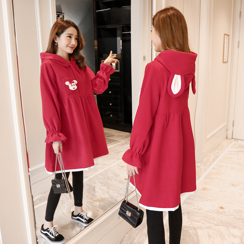 2018 New Style Maternity Clothes Autumn Clothing Jacket Fashion Pregnant Women Dress Autumn And Winter Mid-length Fashion Mom Sp
