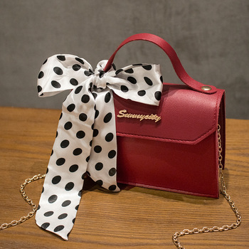 2020 Summer Women Chain Bag Three-dimensional Pu Silk Scarf Handbag Chain Shoulder Crossbody  Bag Women's Messager  Bag