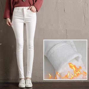 Image 4 - Autumn Winter Plus Velvet Thick Women Leggings Long Trousers Pencil Pants White Black Stretch Skinny High Waist Leggings C5782