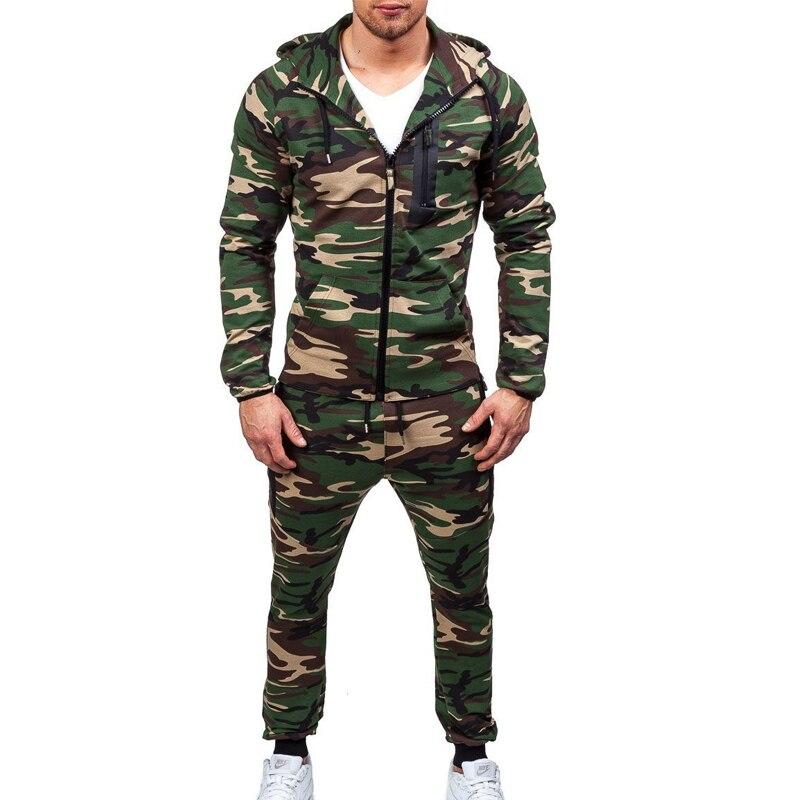 ZOGAA Camouflage Tracksuit Men Jackets Sets Zipper Sportswear Set Male Tracksuit Hooded Sweatshirt Pants 2 Pieces Sets Sweatsuit